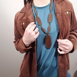 Vintage Wooden Pendant Beaded Necklace
